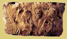 Argentorate: bas relief représentant sans doute Oreste et Iphigénie, trouvée au 2, rue du Dôme. Musée Archéologique de Strasbourg