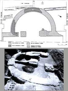 Argentorate: abside le la basilique romaine du Vè siècle dégagée sous l'église du collège Saint Etienne. Photo et plan de J.J. Hatt, 1959