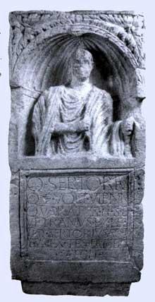 Argentorate: nécropole de Koenigshoffen: stèle funéraire de Quintus Sertorius découverte 24-26 route des Romains