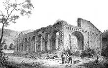 Le prieuré d'Alspach d'après une gravure du XVIIIè. Lithographie d'Engelmann
