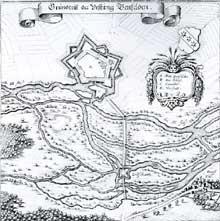 Plan de la ville forte de Benfeld au XVIè. On peut se faire une petite idée de ce qu'était autrefois le Rhin et ses multiples bras… On distingue le village d'Ehl, ancien vicus d'Helvetum sous les Romains