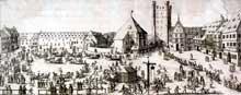 Strasbourg: la place des Cordeliers, actuelle place Kléber. Gravure du XVIIè