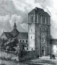 Strasbourg: l'église abbatiale Saint Etienne et sa façade-clocher. D'après un dessin de Silbermann