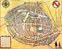 Strasbourg vers 1570. Gravure de Georg Braun et Franz Hogenberg tirée de «Civitates orbis terrarum» édité à Anvers par Philippe Galle