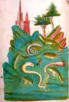 La premi�re repr�sentation de la cath�drale achev�e. Folio 217 du ��Buch der Natur de Konrad von Megenberg��, vers 1440-1450. r�alis� par l�atelier de Diebold Lauber de Haguenau. Heidelberg, biblioth�que de l�Universit�