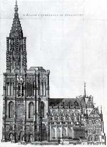Strasbourg, gravure de la cathédrale d'Isaac Brunn, 1615. La cathédrale sera jusqu'au siècle dernier le plus haut édifice de la chrétienté