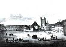 Strasbourg: l'ancienne place des «Cordeliers», future place Kléber avec le couvent et le «Pfennigturm».Tiré de «Strasbourg illustré» de F. Piton