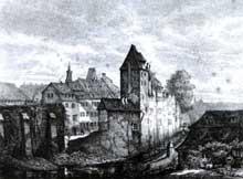 Strasbourg: vue des anciennes fortifications derrière la fonderie et les faux remparts. Tiré de «Strasbourg illustré» de F. Piton