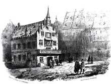 Strasbourg: l'Hôtel de la Monnaie, de style gothique avec son remarquable pignon à redents. Lithographie de Th. Müller dans «Strasbourg illustré» de F. Piton