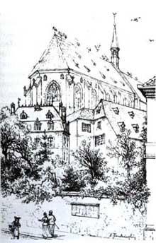 Strasbourg: l'ancienne église des Dominicains, détruite pendant le siège de Strasbourg en août 1870. Sur son emplacement s'élève aujourd'hui le Temple Neuf