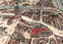 Détail du plan de Conrad Morant de 1548: de gauche à droite: l'église et le couvent des Cordeliers, le «Pfennigturm» (place Kléber) et l'église des Dominicains (Place du Temple Neuf)