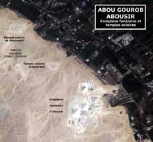 Abousir et Abou Gourob: vue satellitaire des temples solaires et du complexe funéraire. (Site Egypte antique)