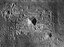 Saqqara, complexe funéraire de Djoser: vue aérienne rapprochée. (Site Egypte antique)