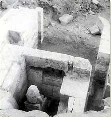 Saqqara, complexe funéraire de Djoser: le serdab. (Site Egypte antique)