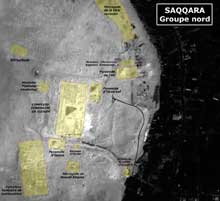 Saqqara: vue satellitaire du site de Saqqara Nord. (Site Egypte antique)