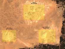 Saqqara: vue satellitaire du site de Saqqara Sud présentant les ensembles funéraires de Pépi I Mérirè, de Merenrè et d'Isési-Djedkarè.   (Site Egypte antique)