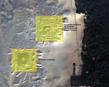 Saqqara: vue satellitaire du site de Saqqara Sud présentant l'ensemble funéraire de Khendjer, et la «Pyramide inconnue». (Site Egypte antique)