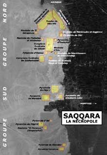 Saqqara: vue satellitaire du site de Saqqara Nord et Sud avec les principaux champs de fouilles. (Site Egypte antique)