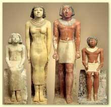 Mastaba de Nefer: Groupe de Neferherenptah et de sa famille. Calcaire peint. Gizeh, début de la VIè dynastie. Le Caire, musée égyptien. (Histoire de l'Egypte ancienne)