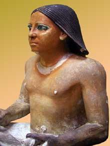 Scribe accroupi, dit «scribe de Morgan», IVè dynastie. Dimensions : 41 cm x 51 cm x 31 cm. Musée du Caire. (Histoire de l'Egypte ancienne)