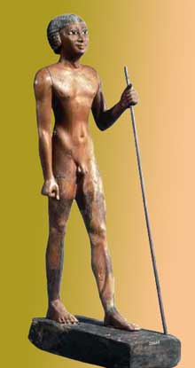Statue en bois du pharaon Téti. VIè dynastie. Londres, British Museum.<br>(Histoire de l'Egypte ancienne)