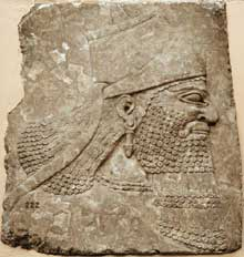 Tête d'Assurbanipal. Art assyrien. (Histoire de l'Egypte ancienne)
