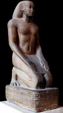 Nekthoreb en prière. Règne de Psammétique II, XXVIè dynastie. Musée du Louvre. (Histoire de l'Egypte ancienne)