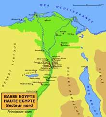 Egypte: carte du Delta, de la Basse Egypte et de la partie Nord de la Haute Egypte. (Site Egypte antique)