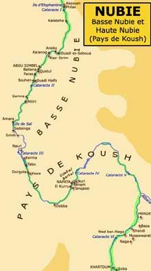 Egypte: carte de la Nubie et du pays de Kouch. (Site Egypte antique)