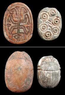Amulettes Hyksos en forme de scarabée. Stéatite. (Histoire de l'Egypte ancienne)