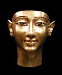Trésor de Psousennès. Masque funéraire de Undjebaundjed, général du Pharaon. Fouilles de Tanis. Musée du Caire. (Histoire de l'Egypte ancienne)
