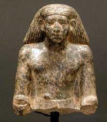 Buste d'himme. Granit. Musée du Caire. (Site Egypte antique)