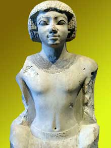Le prince Iâhmès Statuette XVIIème dynastie. Cette statuette en calcaire, autrefois peinte et dorée, représente peut-être le futur roi Ahmôsis (Nebpehti-Rê Ahmès). Paris, musée du Louvre. (Site Egypte antique)