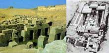 Abydos: le temple funéraire de Séti I, l'Osireion. Restitution et vue de la grande salle. (XIXè dynastie, 1294-1279). (Site Egypte antique)
