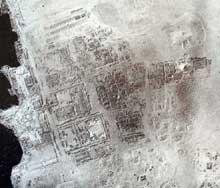 Akhetaton – Telle el-Amarna: vue aérienne des ruines. (Site Egypte antique)