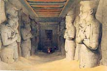 Abou Simbel : le grand temple de Ramsès II. L'intérieur. Lithographie en couleurs, D. Roberts, Egypt and Nubia, Londres, 1846-1849. (Site Egypte antique)