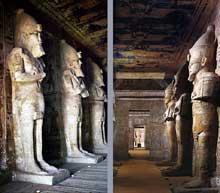 Abou Simbel: le grand temple de Ramsès II. Piliers osiriaques de la cour. (Site Egypte antique)