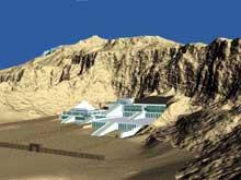 Deir el-Bahari: restitution du site des temples de Mentouhotep, Touthmôsis et Hetchepsout.  (Site Egypte antique)