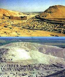 Deir el-Médineh: le village des ouvriers-artisans de la vallée des rois. Vue générale. (Site Egypte antique)