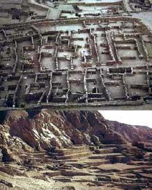 Deir el-Médineh: le village des ouvriers-artisans de la vallée des rois. En haut: le village. En Bas: la nécropole. (Site Egypte antique)