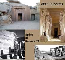 Gerf Hussein: l'hémispéos de Ramsès II. XIXè dynastie.  (Site Egypte antique)