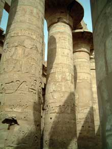 Karnak : le grand temple d'Amon : Grande salle hypostyle. (Site Egypte antique)