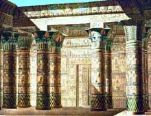 Karnak, sanctuaire d'Amon: temple de Khonsou. Dessin de Roselini réalisé en 1820. (Site Egypte antique)