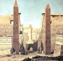 Louxor: le temple d'Amon-Rê: lithographie de Francois-Charles-Cecile (1746-1840). (Site Egypte antique)