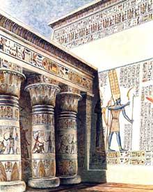 Médinet Habou: le temple funéraire de Ramsès III. Restitution partielle de la première cour à portique. XXè dynastie. Grès Polychrome. (Site Egypte antique)