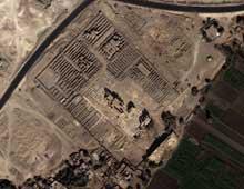 Louxor: le Ramesseum. Vue satellitaire. (Site Egypte antique)