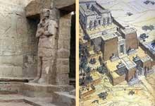 Ouadi es-Seboua: l'hémispéos de Ramsès II. XIXè dynastie. Reconstitution et pilier osiriaque de la cour. (Site Egypte antique)