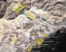 Thèbes ouest, partie nord: vue satellitaire des principaux monuments. (Site Egypte antique)
