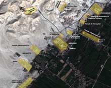 Thèbes ouest, partie sud: vue satellitaire des principaux monuments. (Site Egypte antique)
