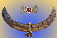 Thèbes, vallées des Reines: Amulette trouvée sur la momie de Khaemaouset. XVIIIè dynastie. Règne d'Aménophis III. (Site Egypte antique)